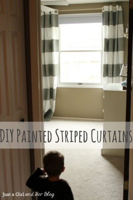 DIY Striped Curtains Just a Girl Blog