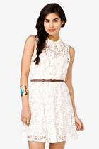 Forever 21 Belted White Dress