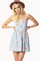 Forever 21 Floral Chambray Dress