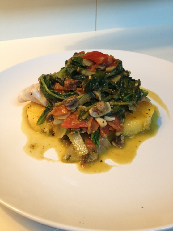 Tasty Tuesday – Tilapia and Polenta with a Pesto Mushroom Tomato Ragu