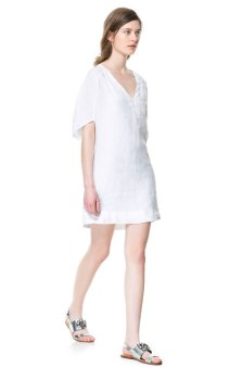 Linen V Neck Dress Zara