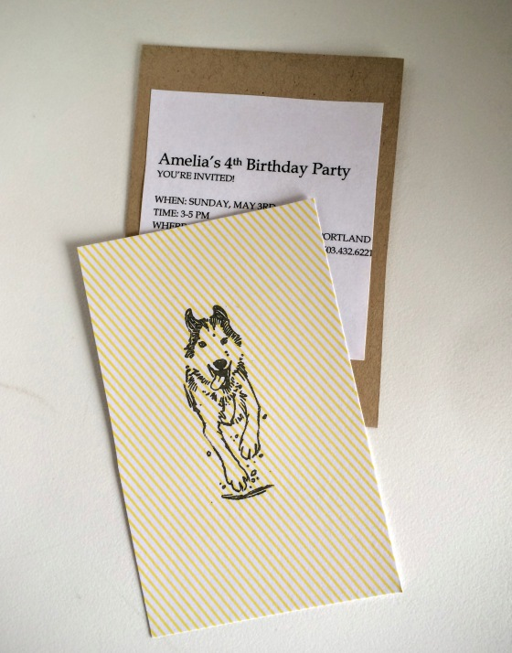 Snow Dog Birthday invite